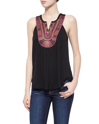 Bib-Front Fashion Tank, Black