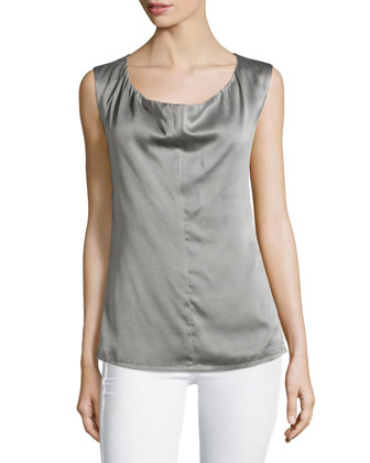 Draped-Front Sleeveless Woven Top, Graphite