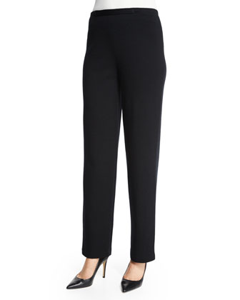 Flat Knit Wool Pants, Black