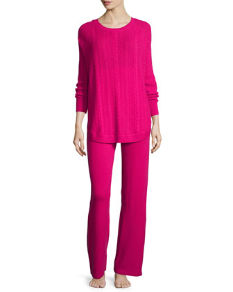 Cashmere Cable-Knit Top & Pant Set