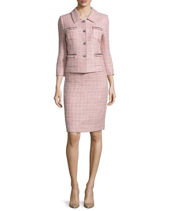 Three-Quarter Sleeve Tweed Skirt Suit, Pink/Black