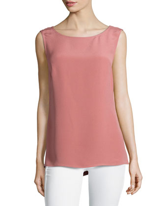 Sleeveless Bateau-Neck Woven Top, Litchi