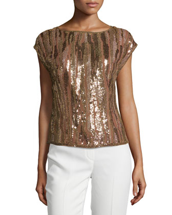 Embellished Cap-Sleeve Top, Noisette