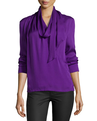 Long-Sleeve Blouse with Scarf, Iris