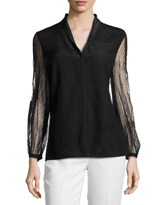 Orly Long-Sleeve Lace Blouse, Black