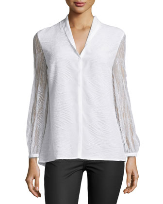 Orly Long-Sleeve Lace Blouse, White