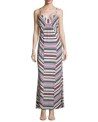 Sleeveless Striped Maxi Dress, Dark Midnight Multi