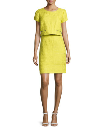 Short-Sleeve Boucle Pop-Over Dress, Citrine