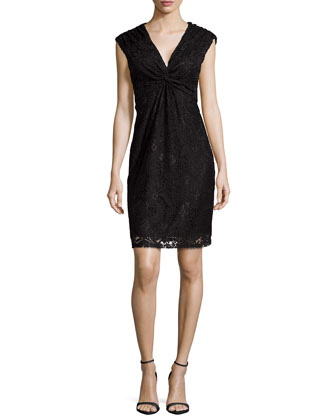 V-Neck Twist-Front Lace Dress, Black