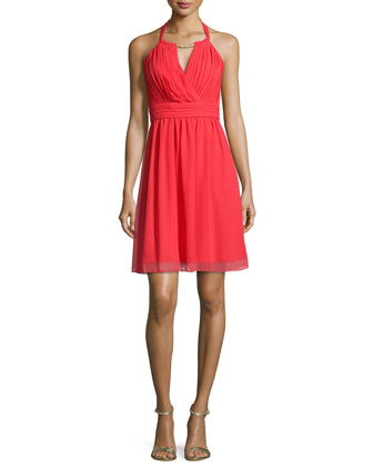 Embellished-Neck Pleated-Bodice Dress, High Risk Red