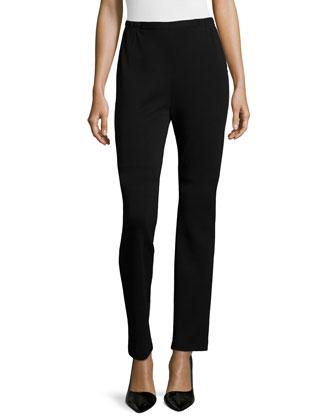 Flat Wool Slim Pants, Plus Size