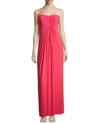 Strapless Pleated-Bodice Gown, Coral Rage