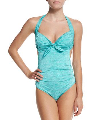 Melange Gathered One-Piece Swimsuit
