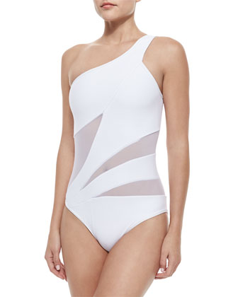 Aspire Solid/Mesh One-Piece Swimsuit