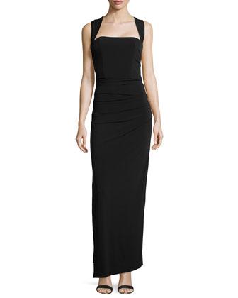 Sleeveless Tuck-Pleated Column Gown, Black