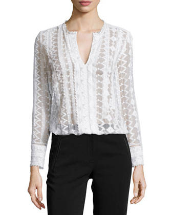 Embroidered Silk Chiffon Top, Chalk