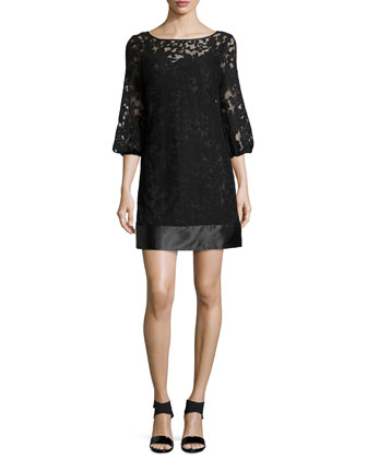 3/4-Sleeve Embroidered Shift Dress, Black