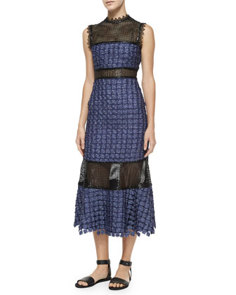 Ava Lace-Inset Midi Dress, Navy/Black
