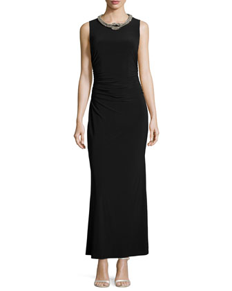 Sleeveless Embellished-Neck Gown, Black