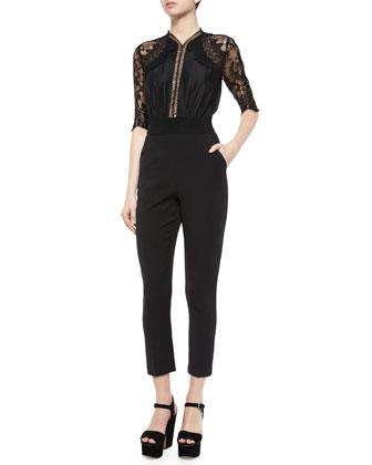 Sequence Lace Jumpsuit, Black