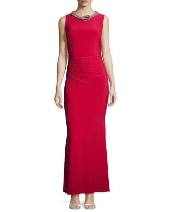 Sleeveless Embellished-Neck Gown, Baton Rouge