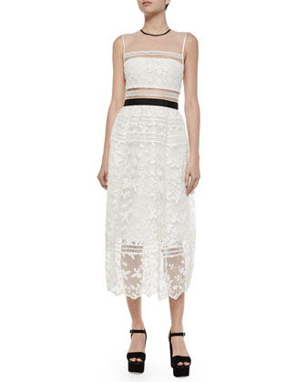 Lila Mixed-Lace Midi Dress, White