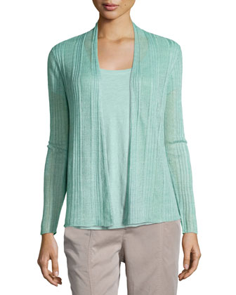 Ribbed Delave Linen Cardigan, Slubby Short-Sleeve Scoop-Neck Tee & ...