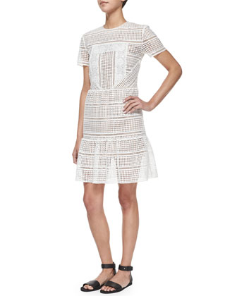Short-Sleeve Patchwork Lace Dress, White