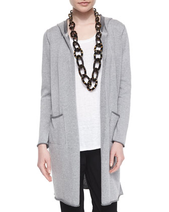 Hooded Organic Cotton Long Cardigan, Petite