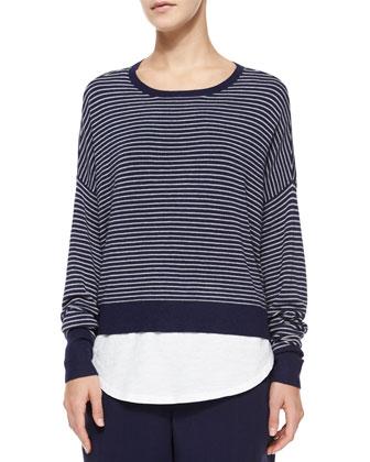 Long-Sleeve Striped Box Top, Sleeveless Slubby Cotton Tank, Petite
