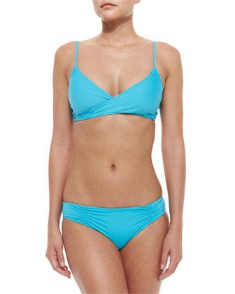 Chloe Wrap-Around Swim Top, Turquoise