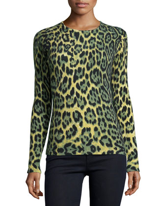 Long-Sleeve Crewneck Leopard-Print Cashmere Sweater