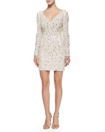 Long-Sleeve Beaded Sheath Dress