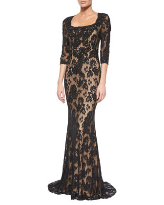 3/4-Sleeve Lace Column Gown