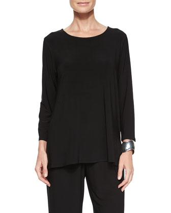 3/4-Sleeve Stretch-Knit Top, Petite