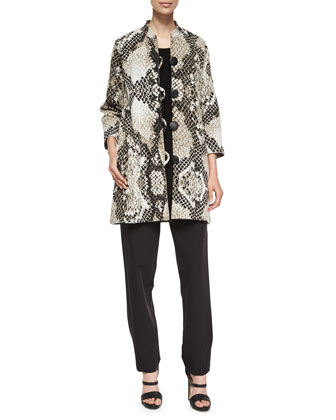 Serpentine-Print Long Jacket, Knit Tunic/Tank & Travel Gabardine Slim Pants