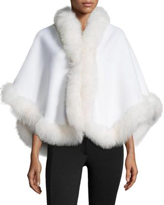 Cashmere Fox-Trim Short Cape, White