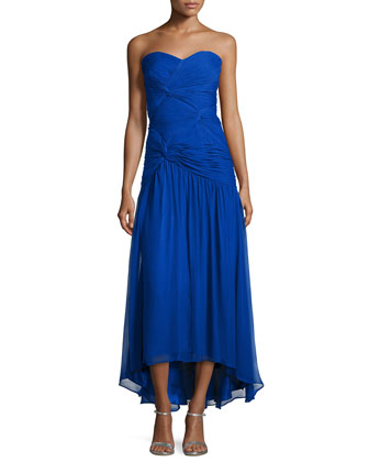 Strapless Twist-Front Gown, Neptune