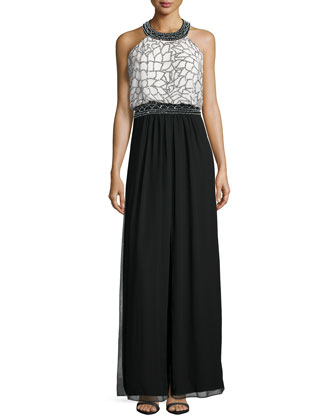 Sleeveless Halter-Neck Embellished Gown, Black/Ivory