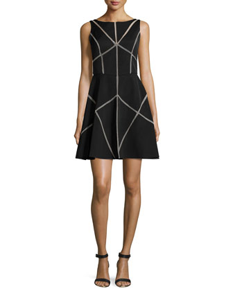 Sleeveless Illusion-Seam Cocktail Dress, Black