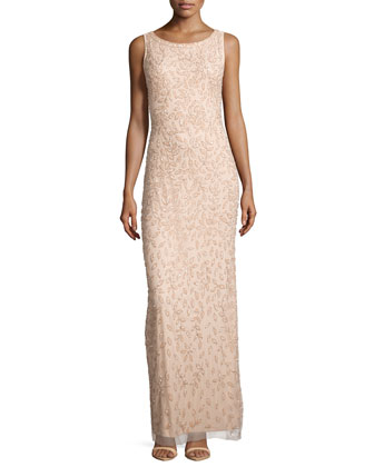 Sleeveless Beaded & Sequined Column Gown