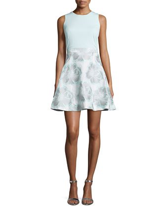 Sleeveless Floral-Print Party Dress, Ice Blue