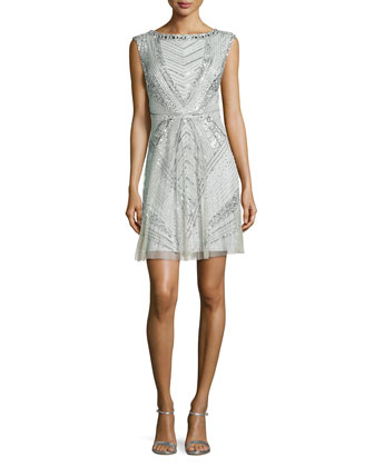 Sleeveless Beaded Art Deco Cocktail Dress
