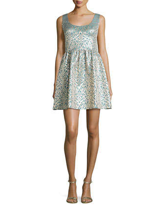 Sleeveless Damask-Print Party Dress, Teal Multi