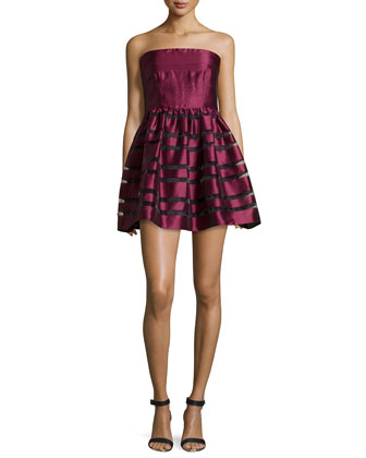 Shadow Stripe Strapless Party Dress, Merlot