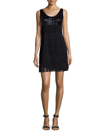 Sequin & Fringe Tank Dress, Black