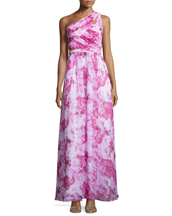 One-Shoulder Floral-Print Gown, Pink Multi