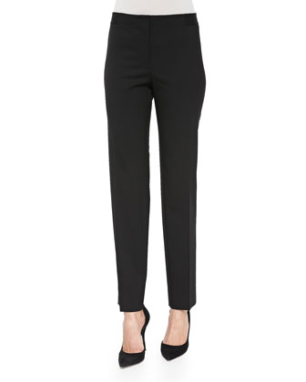 Astor Stretch Crepe Slim-Leg Pants, Black