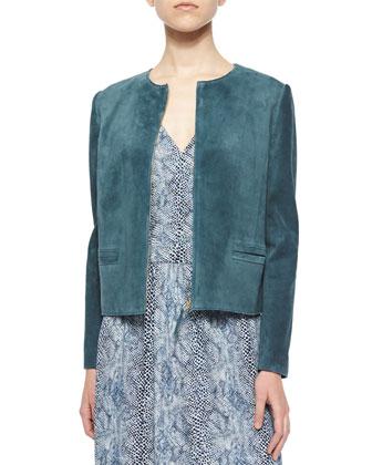 Suede Zip-Front Collarless Jacket