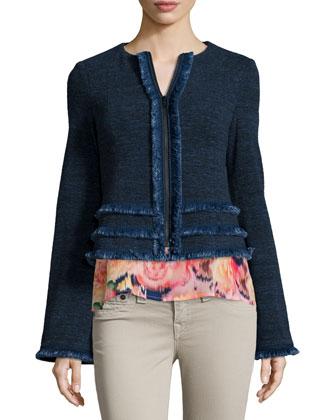 Long-Sleeve Jacket W/ Fringe Trim